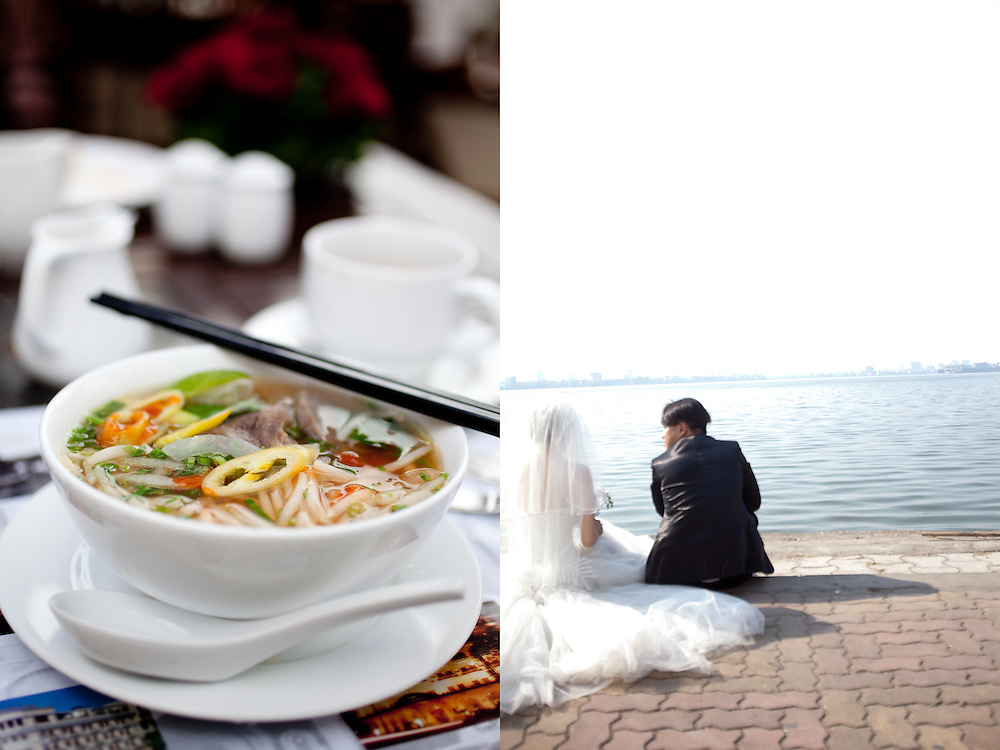 Breakfast bowl of pho at the Majestic Hotel, Saigon (left). Wedding day, Hanoi (right).