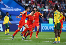 PARIS, June 14, 2019  Li Ying (front L) of China celebrates her scoring during the Group B match between China and South Africa at the 2019 FIFA Women's World Cup in Parc des Princes in Paris, France, June 13, 2019. (Credit Image: © Xinhua via ZUMA Wire)