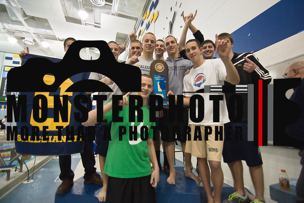 022511 Newark DE: Senior members of the Salesianum swim team poses with the state trophy at the Boys swimming and diving state tournament at Rawstrom Natatorium, Carpenter Sports Building Saturday, Feb. 25, 2012. <br /> <br /> Special to The News Journal/SAQUAN STIMPSON