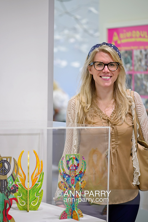 Roslyn, New York, U.S. September 13, 2019. LAURIE GRAB is at ANIMODULES Agents of Peace exhibit Farewell Reception and Founders' talk by GARY BARAT and CHANDRI BARAT, at the Nassau County Museum of Art's Manes Art & Education Center, named for Dr. HARVEY MANES, who was in attendance and spearheaded the exhibit.
