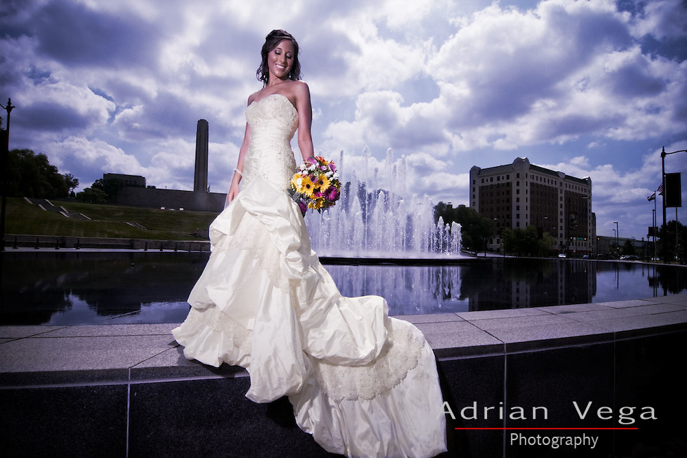 Beautiful bridal portrait,by Union Station, on a summer day, with amazing clouds.