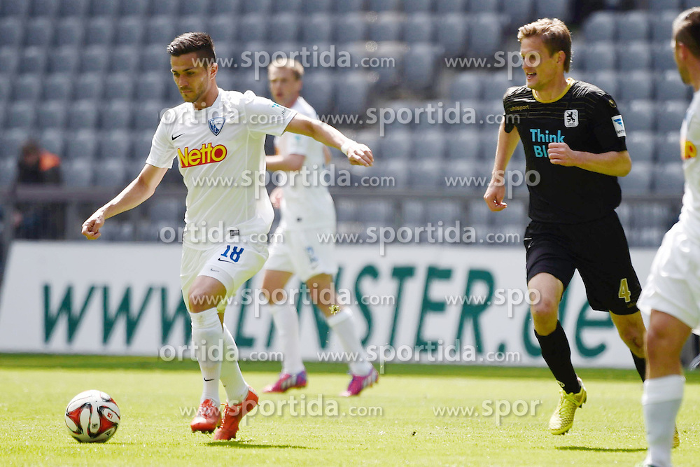 18.04.2015, Allianz Arena, M&uuml;nchen, GER, 2. FBL, TSV 1860 M&uuml;nchen vs VfL Bochum, 29. Runde, im Bild Danny Latza (VfL Bochum), Kai Buelow (TSV 1860 Muenchen), Marco Terrazino (VfL Bochum), v.li. Aktion. // during the 2nd German Bundesliga 29th round match between TSV 1860 M&uuml;nchen vs VfL Bochum at the Allianz Arena in M&uuml;nchen, Germany on 2015/04/18. EXPA Pictures &copy; 2015, PhotoCredit: EXPA/ Eibner-Pressefoto/ Buthmann<br /> <br /> *****ATTENTION - OUT of GER*****