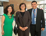 Juliet Stipeche, left, Sonia Nazario, center, and Rene Sanchez pose for a photograph before a presentation to students at Chavez High School, September 26, 2014.