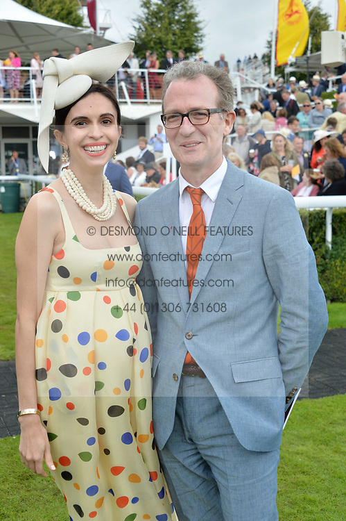 Ashley Hicks and Kata Hicks at the Qatar Goodwood Festival, Goodwood, West Sussex England. 3 August 2017.<br /> Photo by Dominic O'Neill/SilverHub 0203 174 1069 sales@silverhubmedia.com