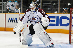 March 1, 2011; San Jose, CA, USA;  Colorado Avalanche goalie Brian Elliott (30) warms up before the game against the San Jose Sharks at HP Pavilion. Mandatory Credit: Jason O. Watson / US PRESSWIRE