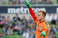 Melbourne Victory goalkeeper Lawrence Thomas (20) gestures to teamates at the Hyundai A-League Round 4 soccer match between Melbourne Victory and Central Coast Mariners at AAMI Park in Melbourne.