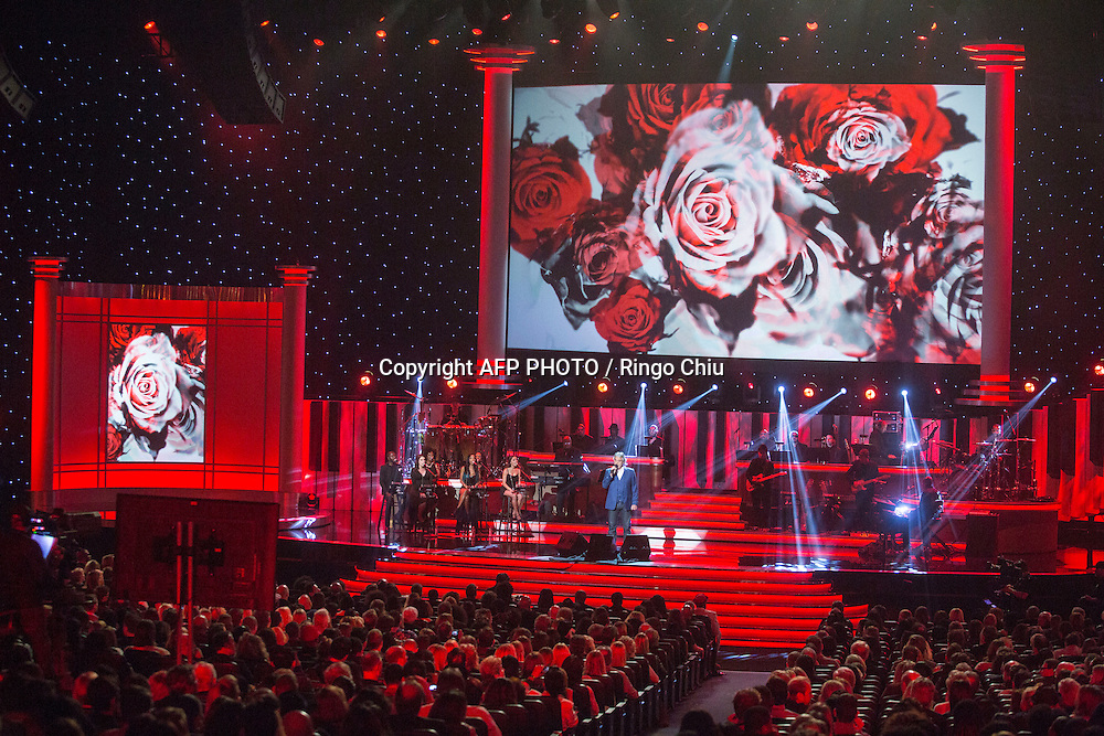 Andrea Bocelli performs at a concert, Stevie Wonder: Songs In The Key Of Life - An All-Star GRAMMY Salute, at Nokia Theatre L.A. Live on February 10, 2015 in Los Angeles, California. AFP PHOTO / Ringo Chiu