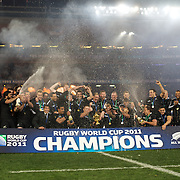 New Zealand celebrate after winning the World Cup during the New Zealand V France Final at the IRB Rugby World Cup tournament, Eden Park, Auckland, New Zealand. 23rd October 2011. Photo Tim Clayton...
