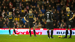 26.12.2012, Britannia Stadion, Stoke on Trent, ENG, Premier League, Stoke City vs FC Liverpool, 19. Runde, im Bild Liverpool's captain Steven Gerrard looks dejected as Stoke City score the third goal during the English Premier League 19th round match between Stoke City FC and FC Liverpool at the Britannia Stadium, Stoke on Trent, Great Britain on 2012/12/26. EXPA Pictures © 2012, PhotoCredit: EXPA/ Propagandaphoto/ David Rawcliffe..***** ATTENTION - OUT OF ENG, GBR, UK *****