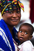 A street vendor and her child in central Accra, Ghana on Tuesday June 16, 2009.