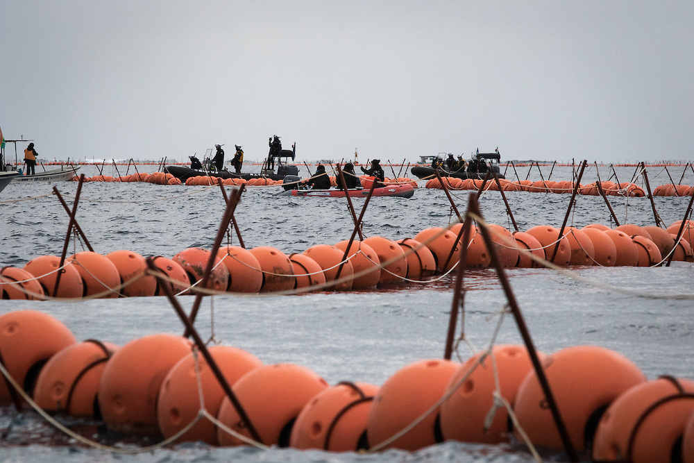 OKINAWA, JAPAN - FEBRUARY 7 :  Above-water fencing is seen during protest agains the new US Airbase in Oura Bay, Henoko, Nago, Okinawa, Japan on Feb. 7, 2017. Workers were seen dropping concrete blocks into the sea  from barges for constructing the new US base which started this Tuesday morning. (Photo by Richard Atrero de Guzman/NURPhoto)