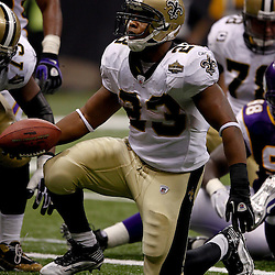 September 9, 2010; New Orleans, LA, USA; New Orleans Saints running back Pierre Thomas (23) celebrates after scoring a touchdown against the Minnesota Vikings during the NFL Kickoff season opener at the Louisiana Superdome. The New Orleans Saints defeated the Minnesota Vikings 14-9.  Mandatory Credit: Derick E. Hingle
