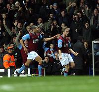 Photo: Mark Stephenson/Sportsbeat Images.<br /> Aston Villa v Tottenham Hotspur. The FA Barclays Premiership. 01/01/2008.Villa's Martin Laursen (F) celebrates his goal for 2-1