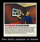 A clip from Swedish newspaper. Curator Sten Nolin prepares exhibition in Sweden.