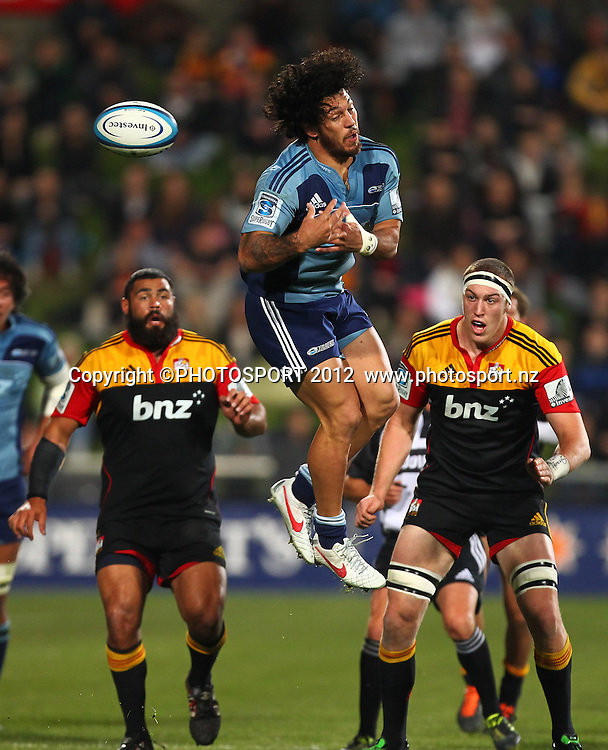 Rene Ranger of the Blues misses a high ball during the Super Rugby game between The Blues and The Chiefs, North Harbour Stadium, Auckland, New Zealand, Saturday June 2nd 2012. Photo: Simon Watts / photosport.co.nz