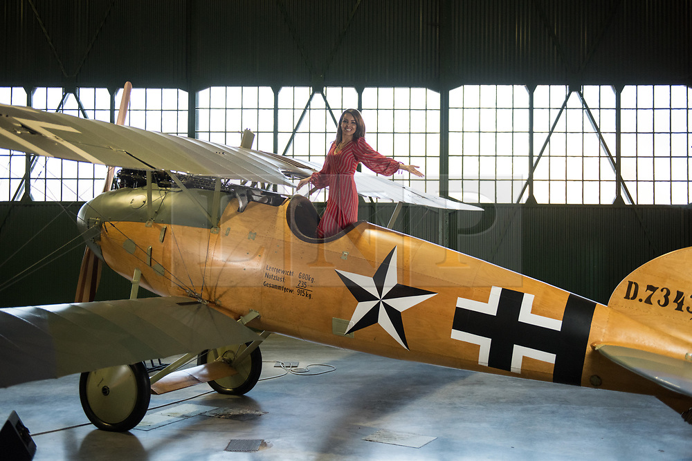 © Licensed to London News Pictures. 21/11/2018. London, UK.  <br /> TV presenter and Strictly Come Dancing star Katie Piper poses for a photograph in an Albatross D.Va aircraft in the Royal Air Force Museum London to launch the National Lottery's Thanks To You campaign in London, England on November 21, 2018. The Thanks To You promotion which runs from December 3 until December 9 sees venues, which have received Lottery funding, offering free offers and/or free entry to people in possession of a National Lottery ticket. Some of the UK's best-loved venues will be taking part, including: the Natural History Museum, Science Museum, Kew Gardens, Eden Project, Jodrell Bank, the National Railway Museum, V&A Dundee, National Museum Wales and over 100 National Trust sites.  Photo credit: Oli Scarff/LNP