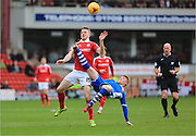 Marley Watkins, Andy Cannon during the Sky Bet League 1 match between Barnsley and Rochdale at Oakwell, Barnsley, England on 23 January 2016. Photo by Daniel Youngs.