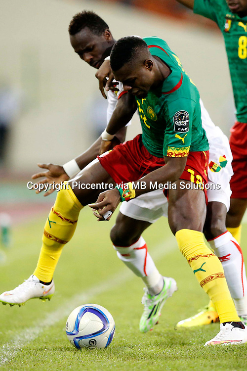 Henry Bedimo Nsame of Cameroon shields the ball fromMohammed Yatarra of Guinea during their AFCON match at the Nueva Estadio de Malabo on January 24, 2015.Photo/Mohammed Amin/www.pic-centre.com (Equatorial Guinea)
