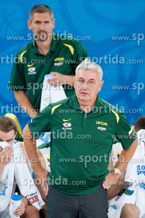 Jonas Kazlauskas, head coach of Lithuania during basketball match between National teams of Lithuania and Belgium in 2nd Round at Day 10 of Eurobasket 2013 on September 13, 2013 in SRC Stozice, Ljubljana, Slovenia. (Photo By Urban Urbanc / Sportida)<br />  during basketball match between National teams of Lithuania and Belgium in 2nd Round at Day 10 of Eurobasket 2013 on September 13, 2013 in SRC Stozice, Ljubljana, Slovenia. (Photo By Urban Urbanc / Sportida)
