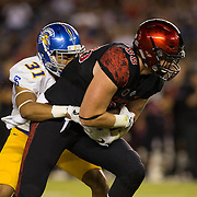 21 October 2016: The San Diego State Aztecs football team takes on the San Jose State Spartans Friday night at Qualcomm Stadium. San Diego State tightend David Wells (88) makes a reception the first quarter for first down. The Aztecs lead the Spartans 21-3 at halftime. www.sdsuaztecphotos.com