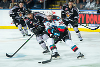 KELOWNA, BC - JANUARY 4:  Alex Kannok Leipert #41 of the Vancouver Giants checks Matthew Wedman #20 of the Kelowna Rockets as he skates with the puck during third period at Prospera Place on January 4, 2020 in Kelowna, Canada. Kannock Leipert was selected in the 2018 NHL entry draft by the Washington Capitals while Wedman was selected in the 2019 NHL entry draft by the Florida Panthers. (Photo by Marissa Baecker/Shoot the Breeze)