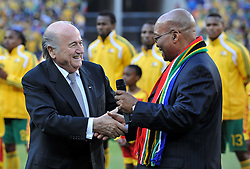 JOHANNESBURG, SOUTH AFRICA - Friday, June 11, 2010: South Africa's President Jacob Zuma and President of FIFA Sepp Blatter before the opening match of the 2010 FIFA World Cup South Africa at the Soccer City Stadium. (Pic by Hoch Zwei/Propaganda)