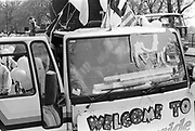 Parked sound system truck at the first Criminal Justice March,Park Lane,London,UK,1st of May 1994.