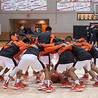 Gallup Bengals boys basketball team huddle before their game against Miyamua at the 75th Annual Gallup Boys Invitational Basketball Tournament, Saturday, Jan. 5, 2019 at Gallup High School.