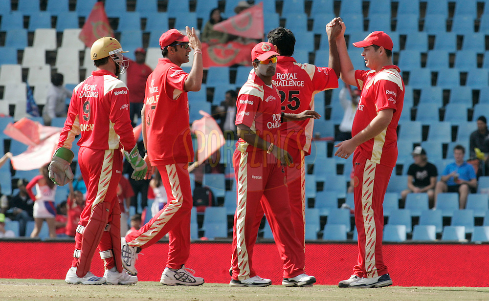 CENTURION, SOUTH AFRICA - 12 May 2009.  during the IPL Season 2 match between the Royal Challengers Bangalore and the Kolkata Knight Riders held at Supersport Park  in Centurion, South Africa..Royal Challengers players celebrates