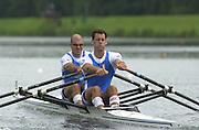 2002 FISA World Cup. Hazewinkel. BEL.       Friday  14/06/2002     .email images@Intersport-images.com.[Mandatory Credit: Peter Spurrier/Intersport Images]  .                                 /06/2002.Rowing. .ITA M2X Rossano Galtarossa bow and Alessio Sartori Rowing, FISA WC.Hazenwinkel, BEL