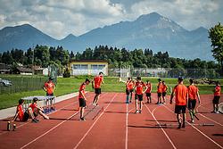 Athletes during fitness training of Slovenian Ski jumping Men team, on May 8, 2018 in Stadium Kranj, Slovenia. Photo by Vid Ponikvar / Sportida