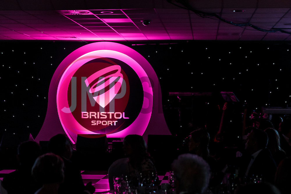 Andrew Billingham takes to the stage at Bristol Sport's Annual Gala Dinner at Ashton Gate Stadium - Mandatory byline: Rogan Thomson/JMP - 08/12/2015 - SPORT - Ashton Gate Stadium - Bristol, England.
