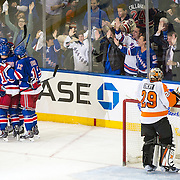 April 17, 2014:  The New York Rangers celebrate after scoring a goal against Philadelphia Flyers goalie Ray Emery (29) during the first round playoff game between The New York Rangers and The Philadelphia Flyers at  Madison Square Garden in Manhattan, New York .  The New York Rangers defeat The Philadelphia Flyers 4-1.(Credit Image: © Kostas Lymperopoulos/Cal Sport Media)