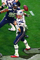 NFL<br /> Super Bowl<br /> 01.02.2015<br /> Foto: imago/Digitalsport<br /> NORWAY ONLY<br /> <br /> New England Patriots Quarterback Tom Brady (12) during the first quarter of Super bowl XLIX. The New England Patriots defeat the Seattle Seahawks 28-24 in Super Bowl XLIX at University of Phoenix Stadium in Glendale Arizona.New England Patriots Quarterback Tom Brady (12) was also named the game MVP.
