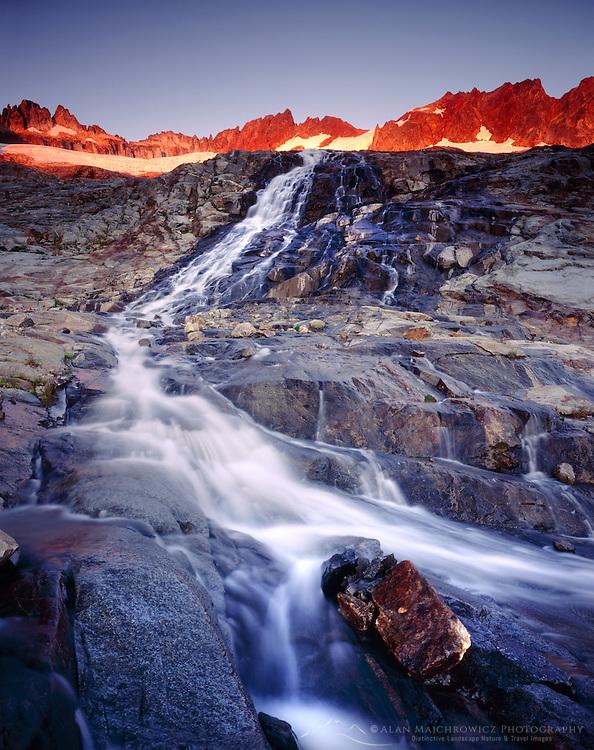 Glacial stream in Boston Basin at sunset, North Cascades National Park Washington