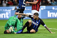 Gianluigi Donnarumma of AC Milan  and Mauro Icardi of Internazionale react during the Serie A 2018/2019 football match between Fc Internazionale and AC Milan at Giuseppe Meazza stadium Allianz Stadium, Milano, October, 21, 2018 <br />  Foto Andrea Staccioli / Insidefoto