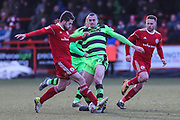 Forest Green Rovers Haydn Hollis(32) tackles Accrington Stanley's Scott Brown(8) during the EFL Sky Bet League 2 match between Accrington Stanley and Forest Green Rovers at the Wham Stadium, Accrington, England on 17 March 2018. Picture by Shane Healey.