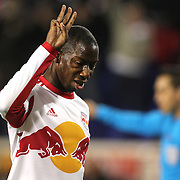 Bradley Wright-Phillips, New York Red Bulls, completes his hat-trick from the penalty spot during the New York Red Bulls V Houston Dynamo, Major League Soccer regular season match at Red Bull Arena, Harrison, New Jersey. USA. 23rd April 2014. Photo Tim Clayton