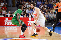 Real Madrid's Sergio Llull and Unicaja Malaga's Oliver Lafayette during semi finals of playoff Liga Endesa match between Real Madrid and Unicaja Malaga at Wizink Center in Madrid, June 02, 2017. Spain.<br /> (ALTERPHOTOS/BorjaB.Hojas)