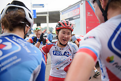 Eri Yonamine explains how she escaped at Boels Rental Ladies Tour Stage 2 a 132.8 km road race from Eibergen to Arnhem, Netherlands on August 30, 2017. (Photo by Sean Robinson/Velofocus)
