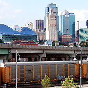 Kansas City Skyline view from near Union Station with train traffic.