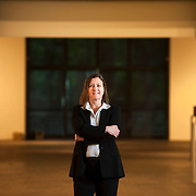 August 20, 2012 - Purchase, NY : Paola Morsiani, the recently appointed director of the Neuberger Museum of Art at SUNY Purchase, poses for a portrait in the museum's empty lobby-level gallery space. CREDIT: Karsten Moran for The New York Times