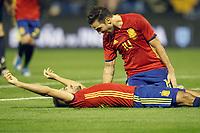 Spain's Mario Gaspar (l) and Cesc Fabregas celebrate goal during international friendly match. November 13,2015.(ALTERPHOTOS/Acero)
