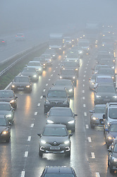 © Licensed to London News Pictures. 15/10/2018<br /> SWANLEY, UK.<br /> Rain and Heavy fog causing travel chaos on the M25 junction 3 for Swanley (anti clock-wise) Kent.<br /> Photo credit: Grant Falvey/LNP