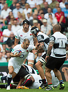 Twickenham, Surrey, United Kingdom.  Danny CARE, attempts to, &quot;hand off &quot; Baa Baa's Patricio ABAACETE, during the, Old Mutual Wealth Cup, England vs Barbarian's match, played at the  RFU. Twickenham Stadium, on Sunday   28/05/2017England    <br /> <br /> [Mandatory Credit Peter SPURRIER/Intersport Images]