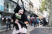 """France, Paris, 7 October 2017. 10th edition of Zombie Walk Paris 2017, """"Paris (en marche) of the dead""""."""