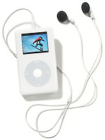 an apple ipod photo model with earbuds photographed on white.