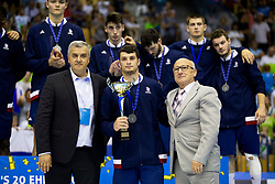 Second placed team France during award ceremony after handball match between National teams of France and Slovenia in Final of 2018 EHF U20 Men's European Championship, on July 29, 2018 in Arena Zlatorog, Celje, Slovenia. Photo by Urban Urbanc / Sportida