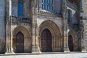 Arched entrance of 12th Century Se Gothic cathedral in Lamego, Portugal