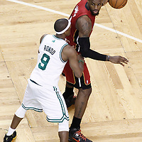 07 June 2012: Boston Celtics point guard Rajon Rondo (9) defends on Miami Heat small forward LeBron James (6) during second half of Game 6 of the Eastern Conference Finals playoff series, Heat at Celtics at the TD Banknorth Garden, Boston, Massachusetts, USA.